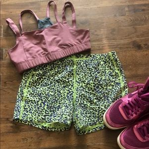 Reebok Green Purple Leopard Spandex Shorts M